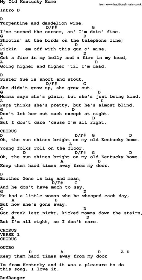 johnny song my kentucky home lyrics and chords