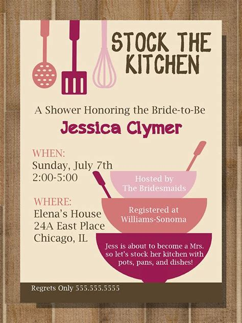 Printable Bridal Shower Invitation Stock The Kitchen Custom Blue Moon Designs Pered Chef Invitation Template