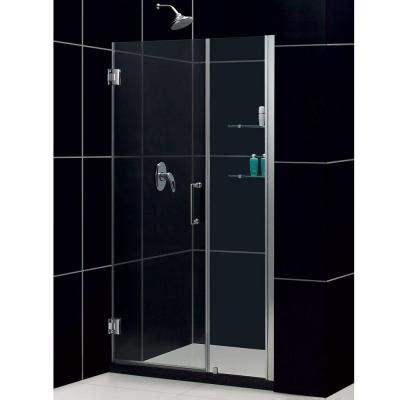 Dreamline Glass Shower Doors Dreamline Unidoor 47 In X 72 In Frameless Hinge Shower Door In Brushed Nickel With Glass