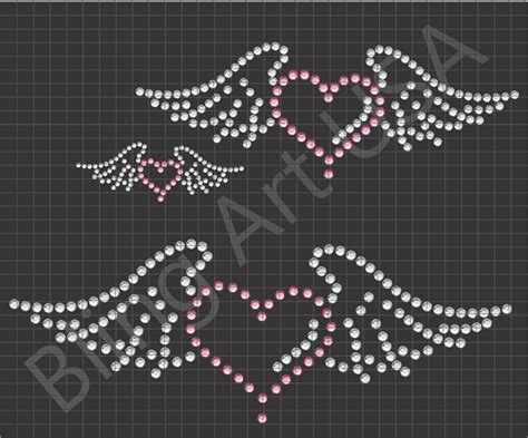 heart with wings rhinestone download files heart templates