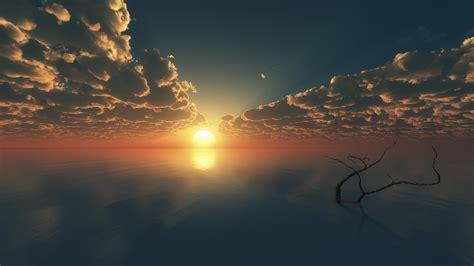 nature landscape clouds sky digital art sun sunset