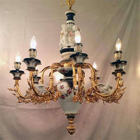 unique cobalt blue white gold leaf porcelain chandelier