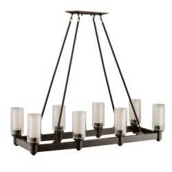 Bronze Dining Room Light 8 Light Linear Chandelier In Olde Bronze Circolo Collection