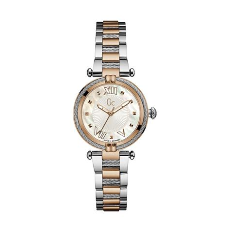 New Jam Tangan Gc Wanita Crono Dan Tanggal On Leater Putih jual guess collection gc cablechic y18002l1 stainless jam tangan wanita silver gold