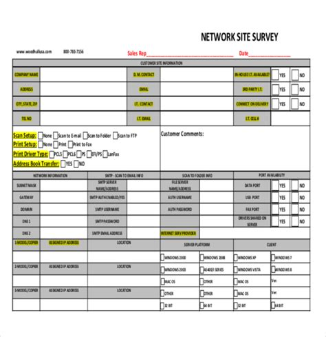 12 site survey templates free sle exle format