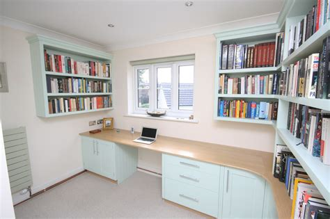 home library office valspar paint kitchen cabinets bespoke hand painted home office with oak desk enlargement 1
