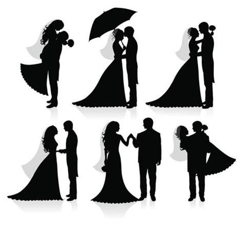 siluet pernikahan   vektor vektor gratis