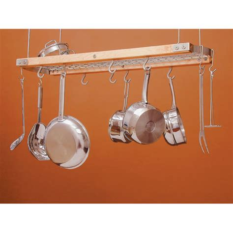 Chrome Pot Rack wood and chrome hanging pot rack in hanging pot racks