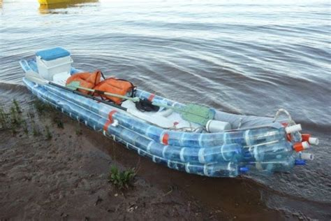 trash boat water federico blanc recycled plastic soda bottles kayak 1 537x358