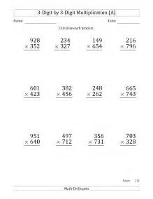 multiplying 3 digit by 3 digit numbers large print with