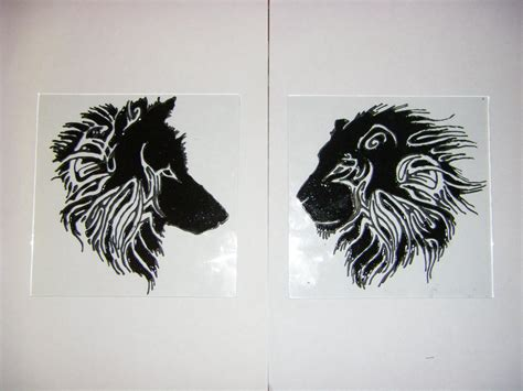 wolf and lion tattoo glass by deni 8 on deviantart
