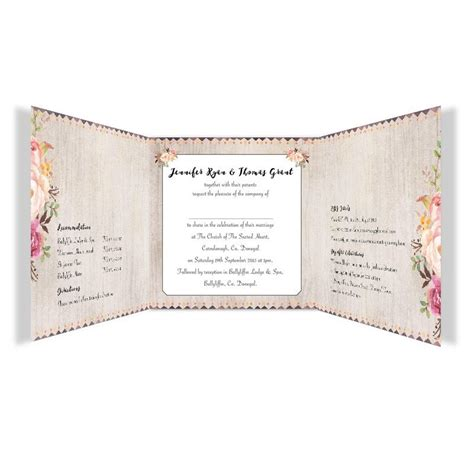 flowering affection tri fold wedding invitation loving invitations
