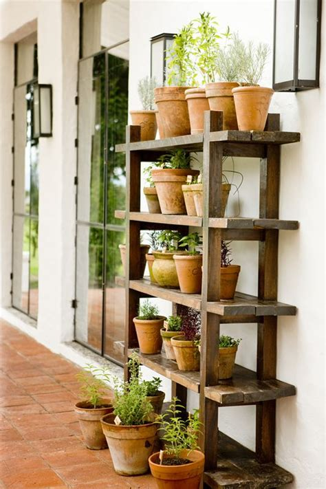 herb shelf sunroom ideas herbs in terracotta wood shelf this