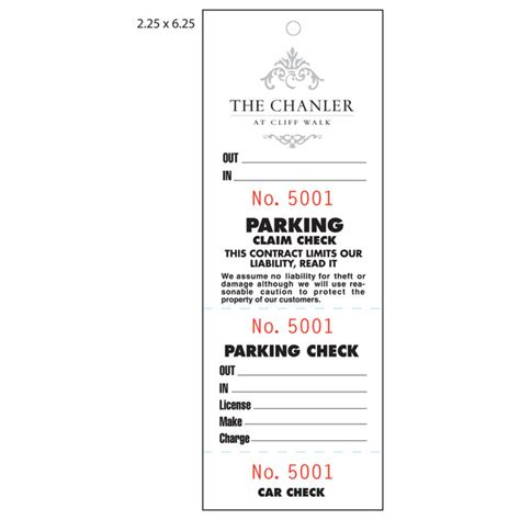 Valet Ticket Template valet parking ticket