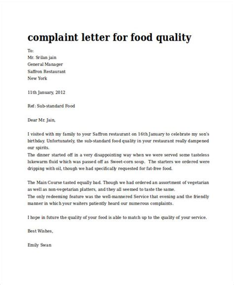 Complaint Letter Restaurant Hygiene how to write a complaint letter about food quality cover