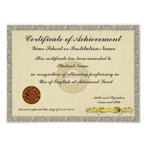 academic achievement certificate template 8 x 10 certificate template new calendar template site