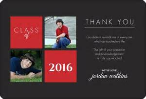 gray and squares graduation thank you card