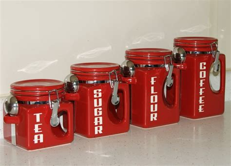 Red Kitchen Canister kitchen canister sets in red color homesfeed