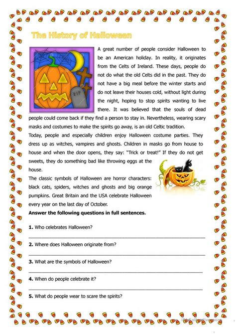 history  halloween worksheet  esl printable