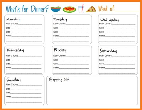 blank meal planner app 30 family meal planning templates weekly monthly budget