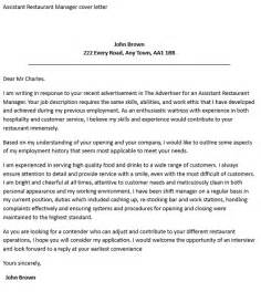 Cover Letter For Assistant Restaurant Manager by Assistant Restaurant Manager Cover Letter Icover Org Uk