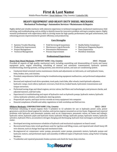 mechanic resume mechanic resume sle professional resume exles
