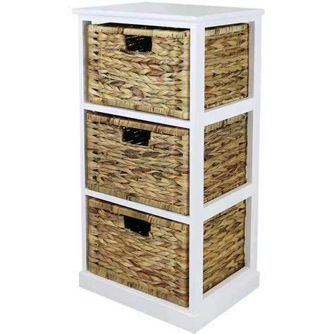 Hartleys White 3 Basket Chest Home Storage Unit Wicker White Rattan Bathroom Storage