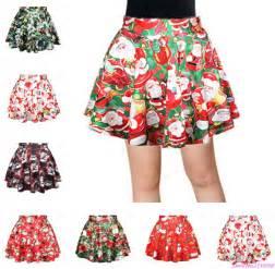summer women santa claus print mini skirts vintage