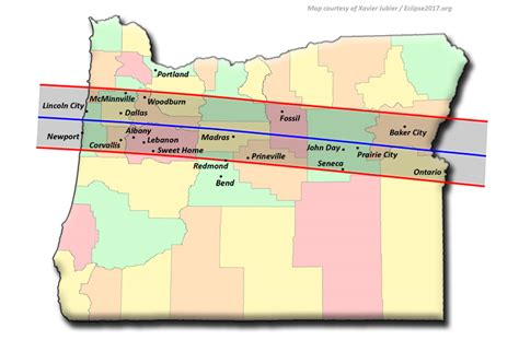map of oregon total eclipse total solar eclipse 2017 the path through oregon