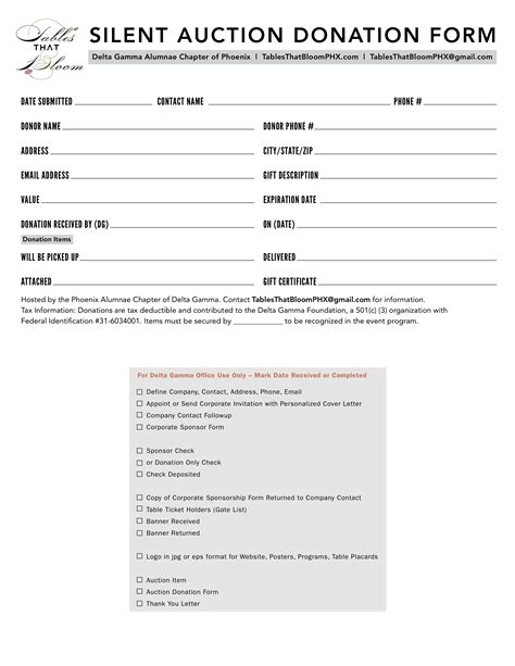 silent auction donation form template search results for silent auction donation form template