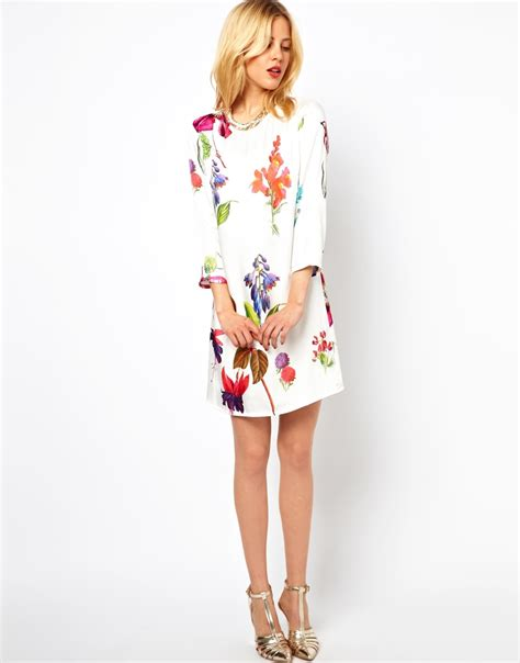 Lipstik Botanical asos botanical print shift dress in white lyst