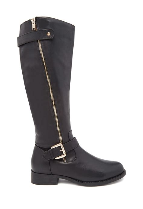 forever 21 knee high faux leather boots wide in black lyst