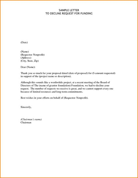 Finance Decline Letter Template event invitation letter exle respectfully decline
