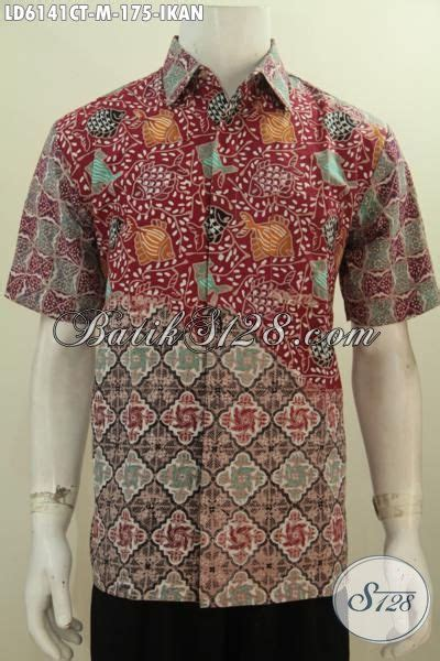 Batik Hem Ikan sedia pakaian hem batik lengan pendek motif ikan busana batik modern proses cap tulis kwalitas