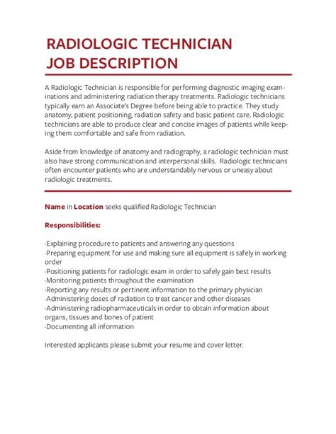 Radiologic Technologist Description by Description For Radiologic Technologist Learn About Your Daily Tasks As A And