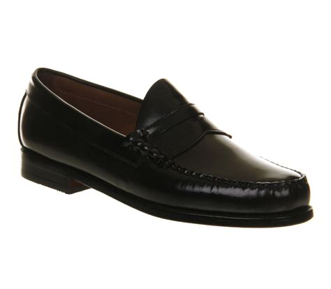 mens g h bass larson loafers black leather formal shoes