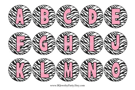 printable zebra striped letters free pink zebra alphabet 1 quot bottle cap images emailed