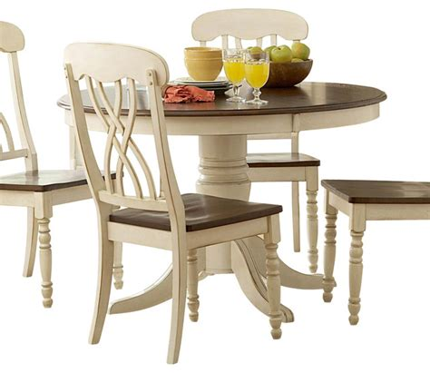 Homelegance ohana round pedestal dining table in white and cherry traditional dining tables