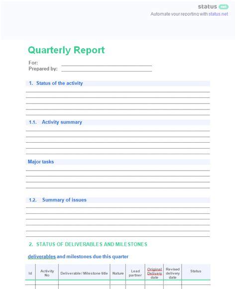 quarterly status report template 2 easy quarterly progress report templates free