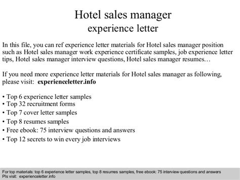 Work Experience Certificate Of Hotel hotel sales manager experience letter