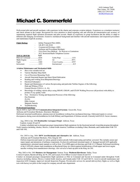 Pilot Resume Sles Cover Letter Free Printable Pilot And Aircraft Mechanic Resume Template Sle For Employment Featuring