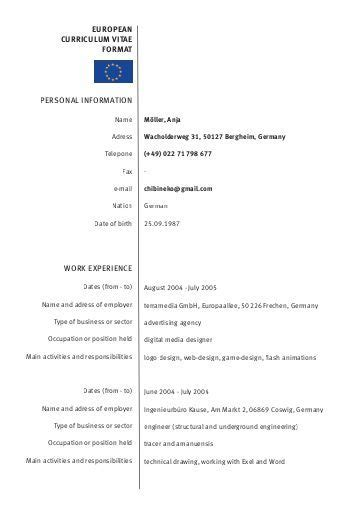 europe resume sle european resume format 28 images 4 best images of