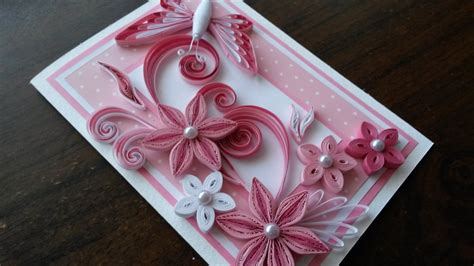 Easy And Beautiful Handmade Birthday Cards - beautiful handmade quilling card pink flowers design pink