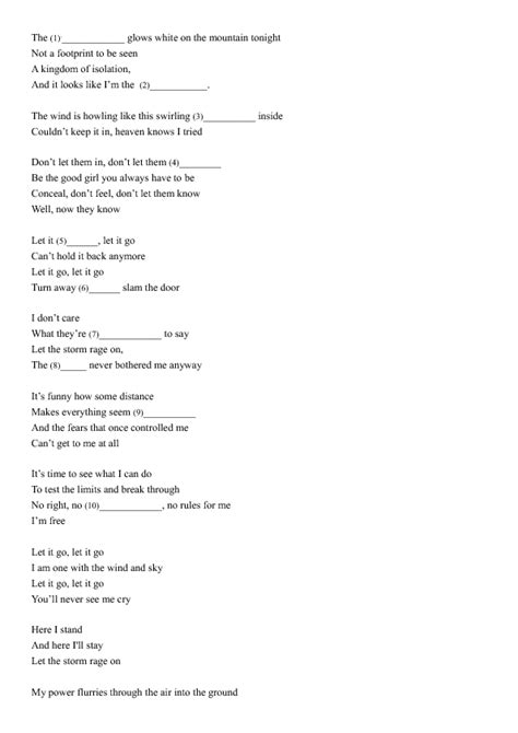 printable lyrics in summer frozen song worksheet let it go and summer frozen