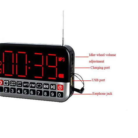 large lcd screen mp3 player speaker fm radio receiver alarm clock usb tf player ebay