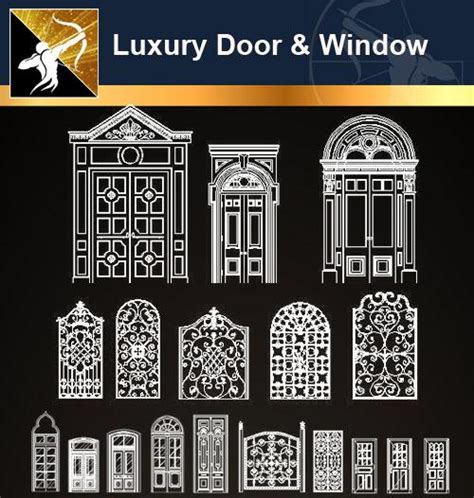 luxury door window cad drawings
