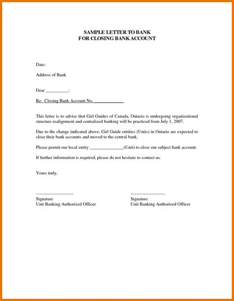 Permission Letter Ending exle of letter to a bank account cover letter