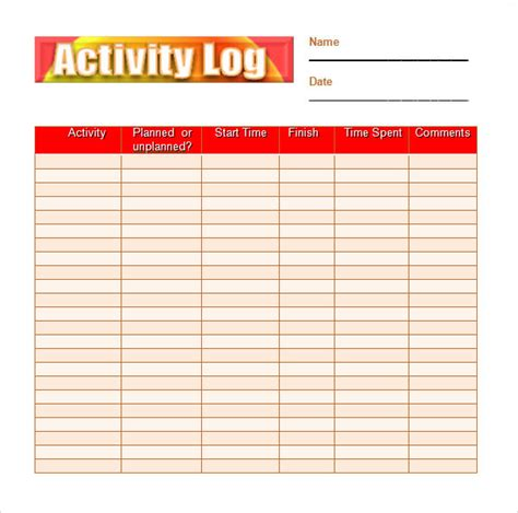 activity log sle 5 documents in pdf word excel