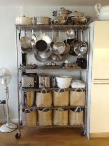 Hang Pots And Pans In Small Kitchen Hang Pots And Pans From Bakers Rack Organize