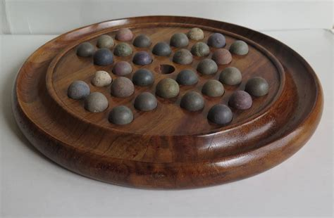 Handmade Marbles For Sale - 19th century marble solitaire board walnut board
